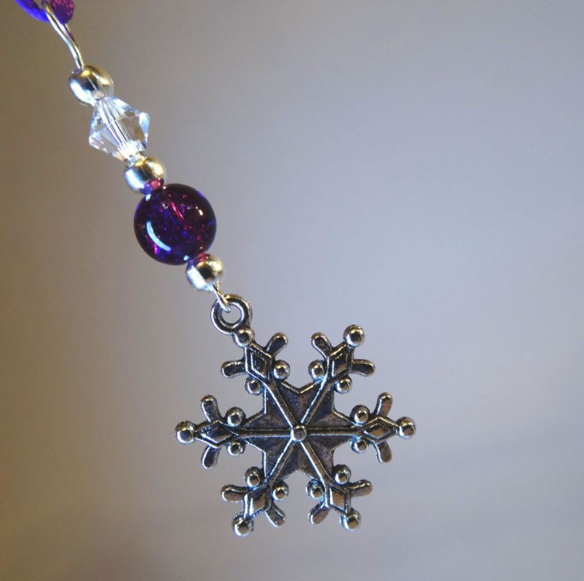 Silver Snowflake, Purple Crackle Bead & Crystal - Xmas Tree Decoration